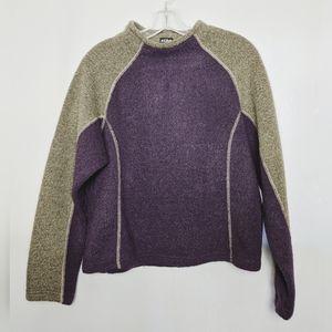 Kuhl Alpaca Fleece Purple Green Pull Over Sz L